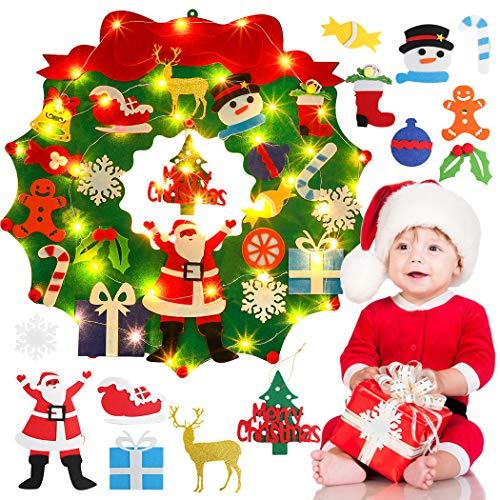 Outgeek Felt Christmas Wreath, DIY Felt Christmas Tree 24 inch Felt Xmas Garland with 5cm LED String Lights and 20PCS Christmas Tree Ornaments for Kids Home Wall Christmas Hanging Decorations