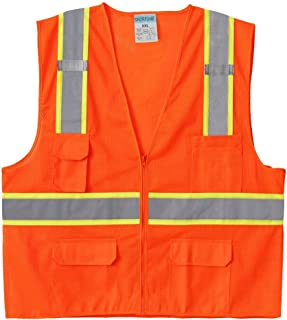 SHORFUNE High Visibility Safety Vest with Pockets, Mic Tabs, Zipper and Reflective Strips, Meets ANSI/ISEA Standards, Orange, XL