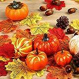 Herbst Deko Set, Kesote 120 PCS Kürbis Künstlich Ahornblatt Thanksgiving Tischdeko Erntedankfest Halloween Dekoration Tannenzapfen Eicheln - 3