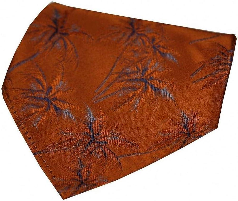 David Van Hagen Mens Palm Tree Silk Handkerchief - Burnt Orange