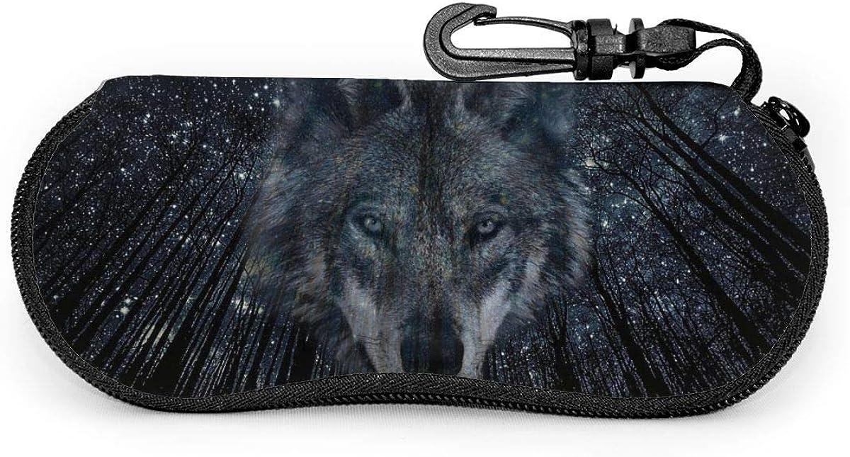 CHILL·TEK Twinkling Stars Forest And Wolf Women's Eyeglasses Case With Carabiner - Lightweight | Portable | Soft | Neoprene Zipper Sunglasses Case