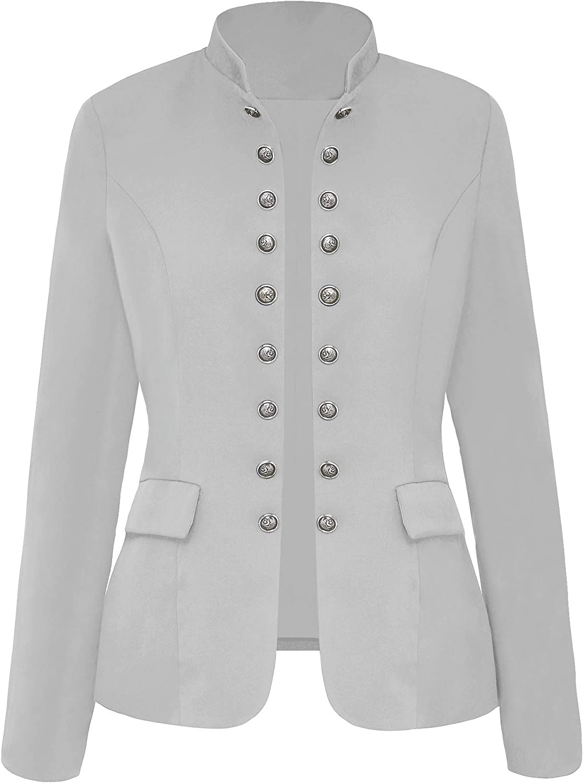 Roskiky Damen Blazer für Frauen, Cardigan, Freizeit Business Jacke, mit Taschen, Deko Knöpfe vorne Grau