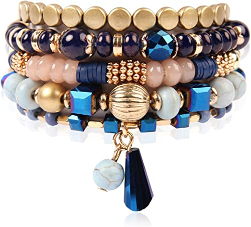 RIAH FASHION Bohemian Mix Bead Multi Layer Versatile Statement Bracelets - Stackable Beaded Strand Stretch Bangles Sp...