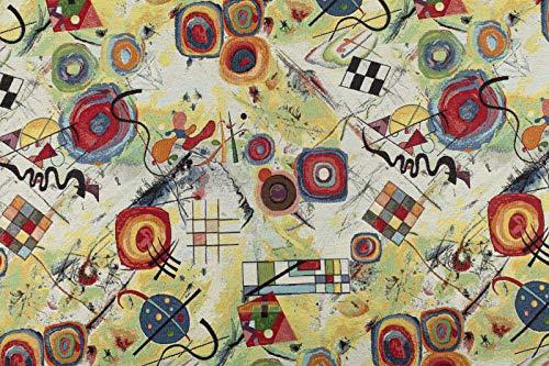 Generico Tessuto al Mezzo Metro Gobelin Jacquard opere di Kandinsky - Altezza 1,40 m - 1 QTA = 50 cm lineare-per Cucire Borse, Tende, Cuscini, divani, etc