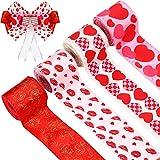 Cinta de Borde de Cable de San Valentín, Cinta Estampada de Corazones, Cinta de Patrón de Corazón para Envolver Corona Lazos de Flores, 2,5 Pulgadas x 20 Yardas en Total