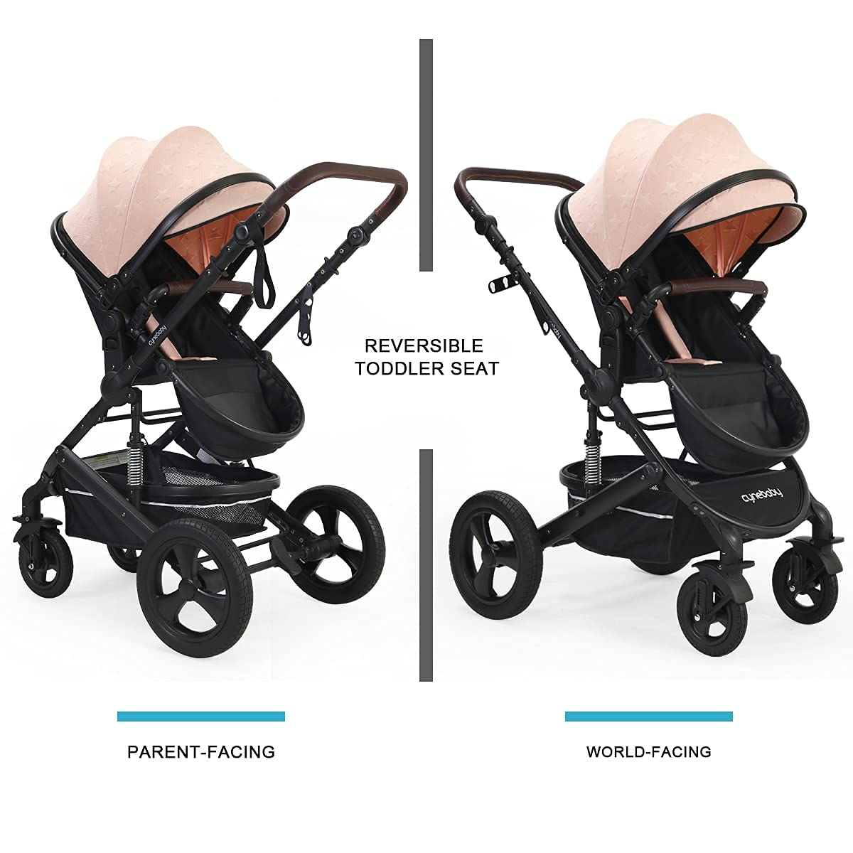 Newborn Infant Toddler Baby Stroller - Cynebaby 2 in 1 High Landscape Convertible Reversible Anti-Shock Bassinet Carriage Pram Stroller Add Cup Holder, Footmuff and Diaper Bag (Pink)