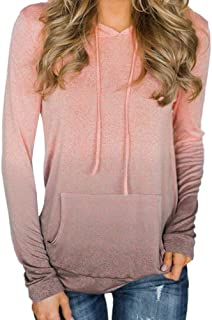 Gibobby Womens Hoodies and Sweatshirts,Casual T-Shirt Long Sleeve Tunic Tops Crewneck Gradient Loose Comfy with Pockets