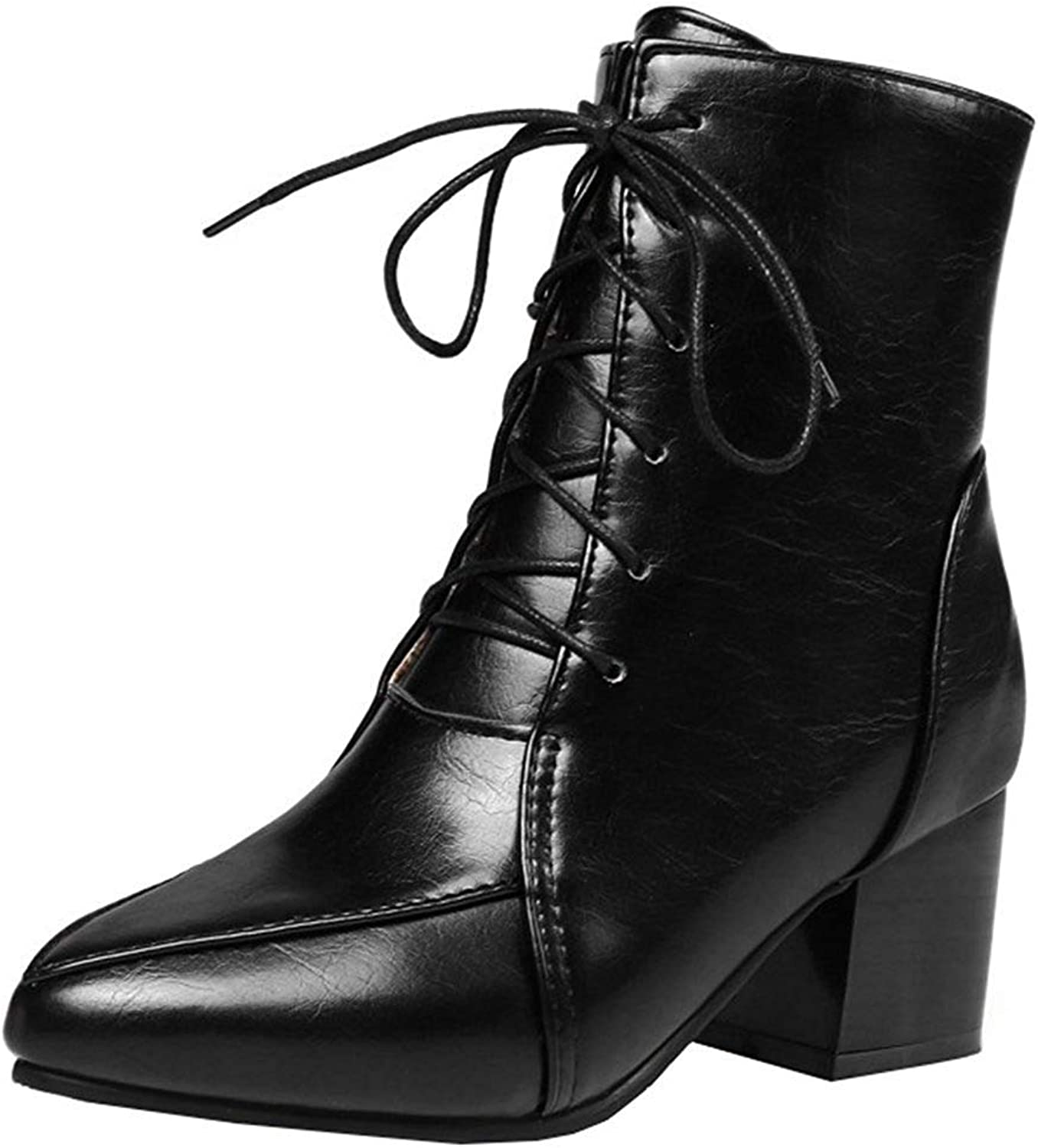 Gcanwea Women's Trendy Stacked Block Medium Heel Lace Up Ankle Booties Pointed Toe Short Boots with Side Zipper Black 4 M US