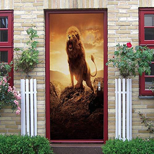 Art Deco 3D Deur Sticker Muurschildering De Lion King Roars Diy Deur Behang Sticker Zelfklevende Verwijderbare Deur Poster Gate Sticker Geschikt Voor Thuis Keuken Slaapkamer 77 Cm X 200 Cm