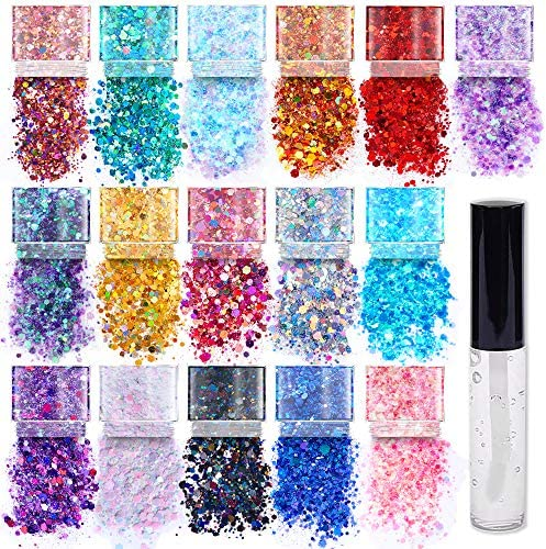 Chunky Cosmetic Holographic Glitter I Body Face Hair Safe I 16 Pack 1 Glitter Glue product image