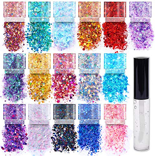 Chunky Cosmetic Holographic Glitter I Body, Face & Hair Safe I 16 Pack + 1 Glitter Primer