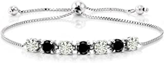 925 Sterling Silver Tennis Bracelet Forever Classic Round 1.32ct (DEW) Created Moissanite by Charles & Colvard and Diamond