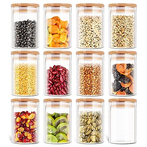 Luftdichte Vorratsgläser mit Bambus-Deckel 12er Glasdose Set, Glas Vorratsbehälter mit Holzdeckel, Küche Gewürz Kanister-Vorratsbehälter für Lebensmittel Tee Gewürze, 150 ml