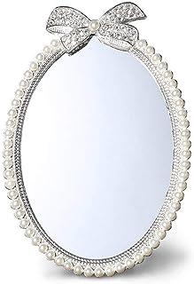YASE-king European Pearl Mirror Princess Mirror Desktop Dormitory Student Desk Korea Countertop Mirror Bedroom Makeup Mirr...