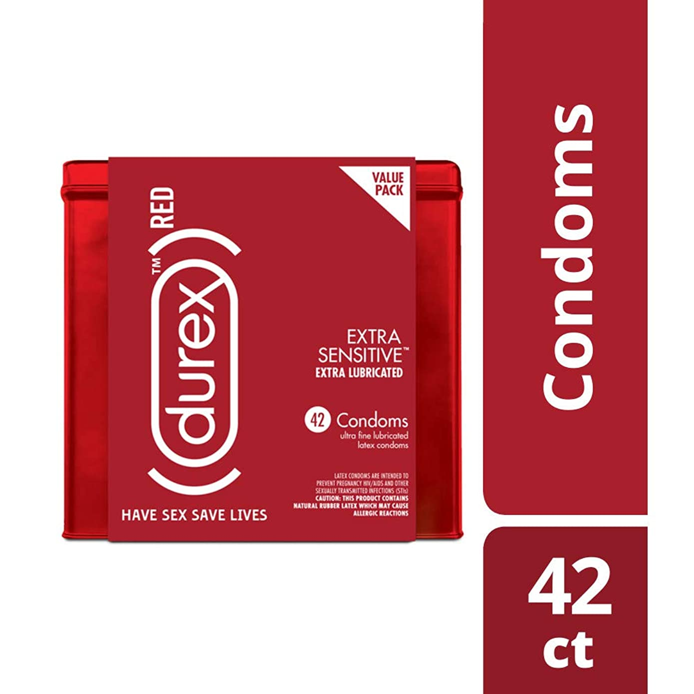 Condoms, Natural Lubricated Latex, Extra Sensitive, Ultra Fine, Durex RED 42 Count, HSA Eligibles