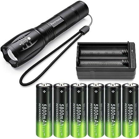 Zoom Flashlight 4Pcs Rechargeable Battery 9900mAh 3.7V 18650Li-ion Batteries