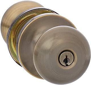 AmazonBasics Entry Door Knob With Lock, Round, Antique Brass