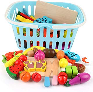 Beebeerun Wooden Cutting Cooking Food Playset,Kitchen Play Food Toys for Pretend Play Role-Play, Early Development Learning Toys with Carry Basket,Gift for Toddlers Boys and Girls