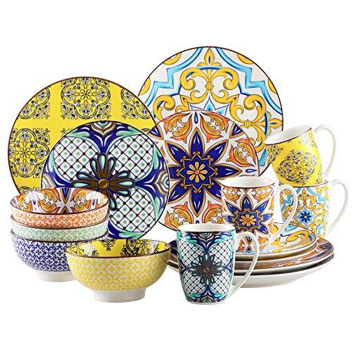 Tafelservice Porzellan, vancasso 16 teiliges JASMIN Geschirrset, orientalisches Kombiservice Set, Aladin Serie für 4 Personen