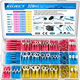 Kuject 320 PCS Heat Shrink Wire Connectors kit, Multipurpose Waterproof Electrical Wire Terminals, Insulated Crimp Connectors Ring Fork Spade Butt Splices for Automotive Marine Boat Truck
