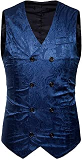Men's Chic Paisley Jacquard Double Vests Wedding Breasted Modern Casual Suit Vest Slim Fit Blazer Gilet Blazer Waistcoat