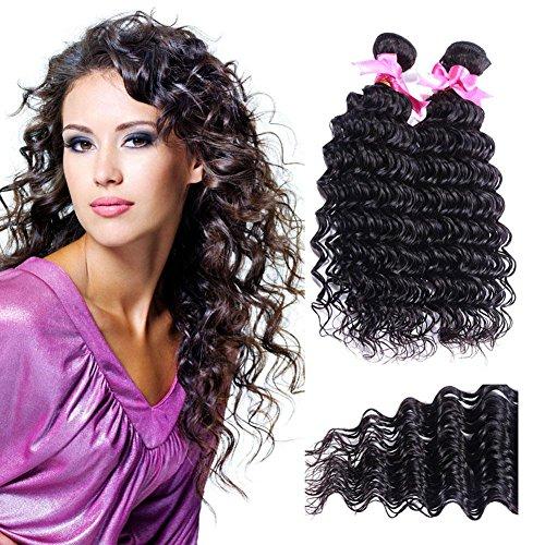 Meylee Postiches 100g # 1 b naturel / arrêt vague profonde bouclés noirs 100 % vierge brésilienne Bundle 3 cheveux cheveux humains Remy trame tissage des Extensions , 8 10 12