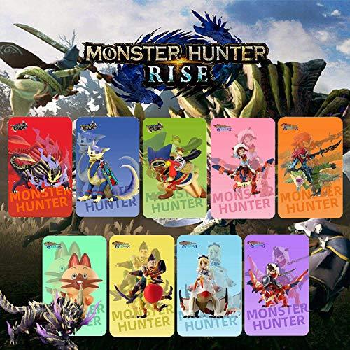 9 piezas para tarjeta NFC Monster Hunter Rise. Incluye: Palamute, Palico, Magnamalo. Compatible con Switch / Switch Lite. Tarjeta MINI de terceros.