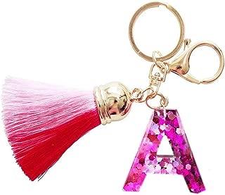 Cute Initial Tassel Keychain A-Z Letter Bling Key Chain Premium Bag Charm for Women
