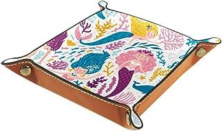 BestIdeas Panier de rangement carré 20,5 × 20,5 cm, avec dessin animé princesse sirène, boîte de rangement sur table pour ...