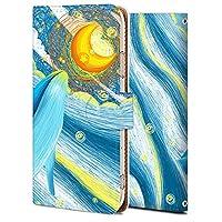 Android one S4 ケース 手帳型 アンドロイド ワン S4 カバー おしゃれ かわいい 耐衝撃 花柄 人気 純正 全機種対応 線画-鯨のてっぺんの月 アニメ かわいい アニマル 6662125
