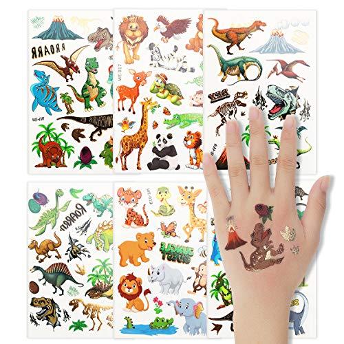 Colmanda 6 Blatt Tattoo Kinder Tattoos Gastgeschenke Glitzer Temporäre Tattoos, Dinosaurier Temporäre Tattoo Set, Kindertattoos für Kindergeburtstag Mitgebsel Party