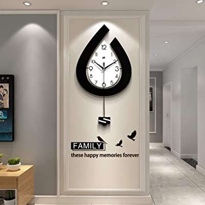Amazon Com Modern Decorative Pendulum Wall Clock Silent Non Ticking Large Wall Clock Battery Operated For Living Room Bedroom Kitchen Office A 25x59cm Home Kitchen