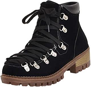 Qootent Women Scrub Low Help Solid Color Short Boots Lace-Up Martin Snow Boots