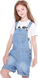 SOLOCOTE دختران جین لباس با قابل تنظیم جلیقه کمربند BF جین Jumpsuit بست کوتاه کوتاه Bib جیب 5-14Y