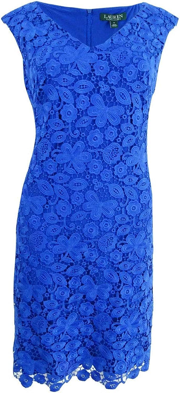 Lauren Ralph Lauren Womens Floral Print Lace Overlay Cocktail Dress