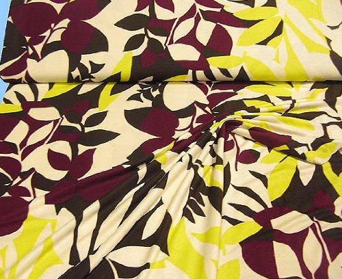Tissu de qualité supérieure-housse en jersey bordeaux : crème superbe automne marron/jaune/motif feuilles et fleurs de style rétro tolko stoffe blusenstoff, au mètre (quantité : 0,5 m