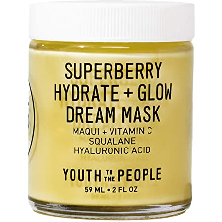 Youth To The People Superberry Hydrate + Glow Dream Mask - Hydrating Vegan Face Mask with Hyaluronic Acid + Antioxidant Vitamin C for Skin Glow - Anti-Aging Overnight Treatment - Clean Beauty (2oz)