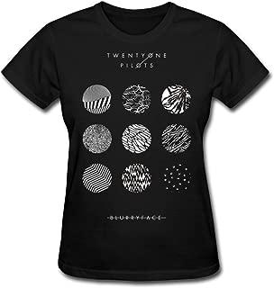 BAHAO Women's T-Shirt Women's Twenty on Pilots Blurryface T-Shirt Black