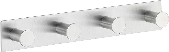 WENKO Hakenlijst Celano Quadro roestvrij staal - met 4 haken, zelfklevend, roestvrij staal, 25,5 x 4 x 3,3 cm, mat
