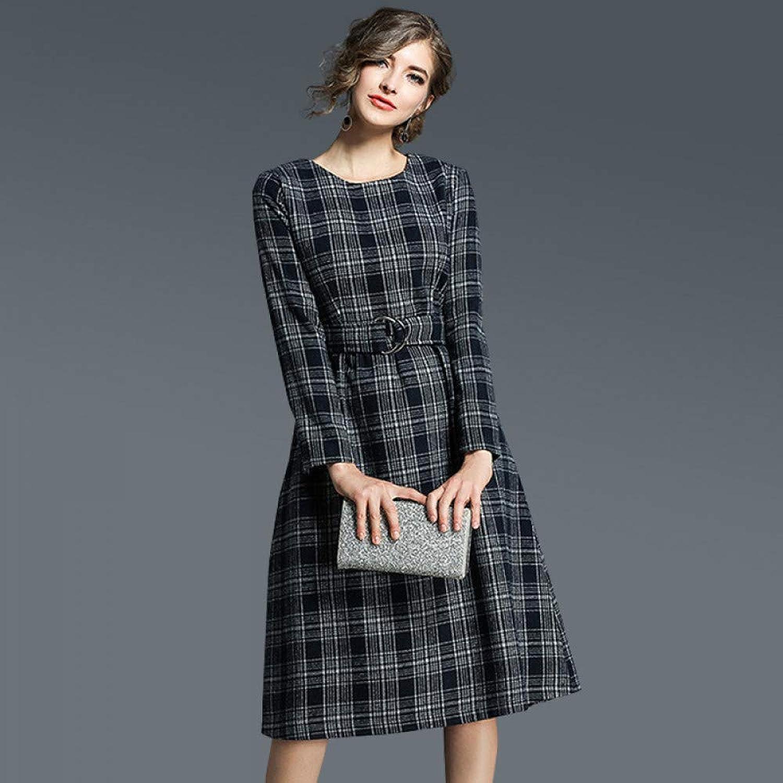 Cxlyq Dresses MidLength Fashion Slim Slimming Woolen Plaid Dress Female