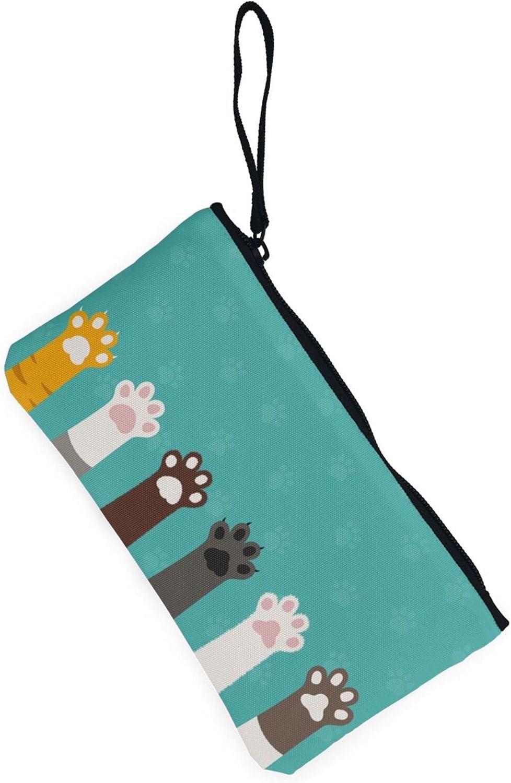 AORRUAM Cat Paws Canvas Coin Purse,Canvas Zipper Pencil Cases,Canvas Change Purse Pouch Mini Wallet Coin Bag