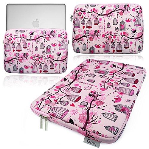 GUPi Lindo diseño de flores y pájaros rosa funda acolchada de neopreno para Apple MacBook PRO/AIR / 11,12,13 cm [13' PRO (Touch Bar) - A2338 / A2289 / A2251]