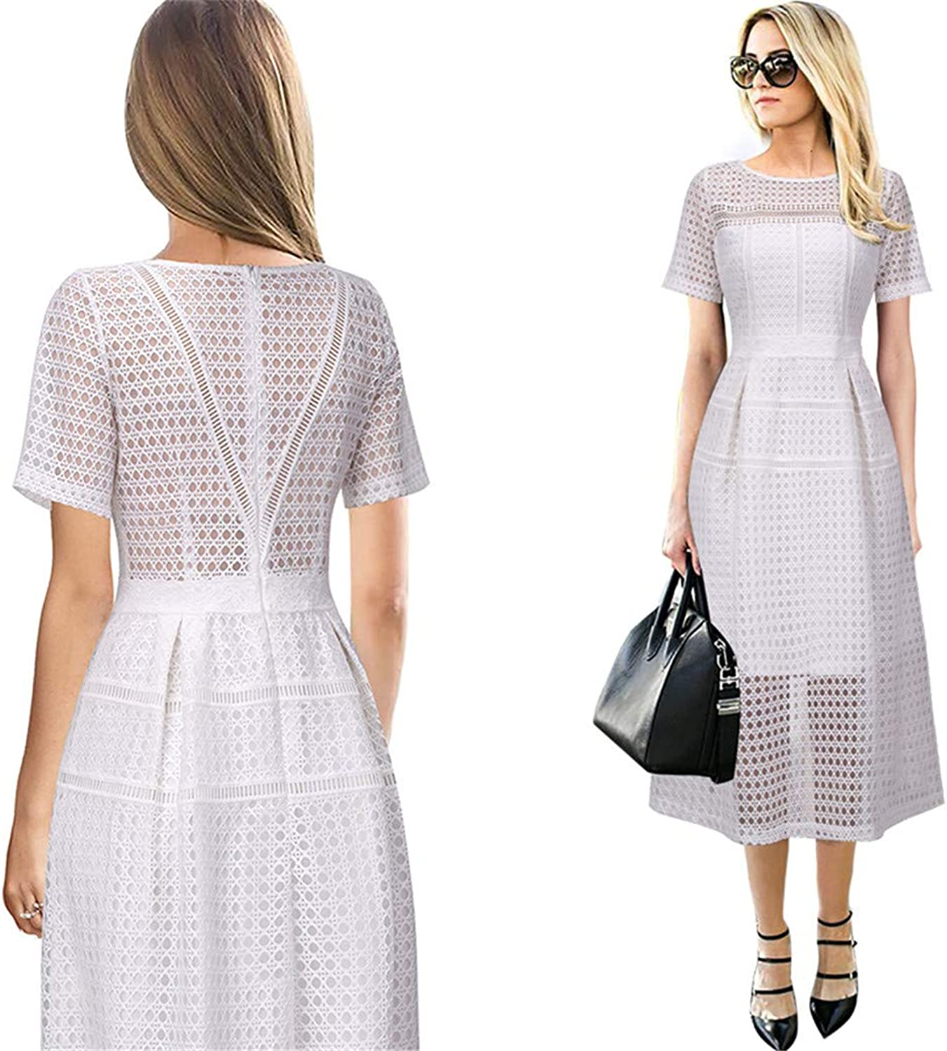 Eyelet Mesh Patchwork Party Special Occasion Fit and Flare Midi Dress