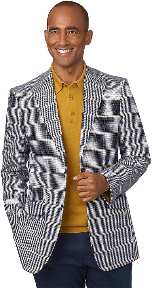 Paul Fredrick Men's Cotton Blend Houndstooth Windowpane Notch Lapel Sport Coat