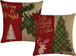 ULOVE LOVE YOURSELF Christmas Decor Pillow Covers with Red/Green Buffalo Check Plaid Deer/Xmas Tree Farmhouse Holiday Decorative Cushion Cover 18x18 Inches,Set of 2