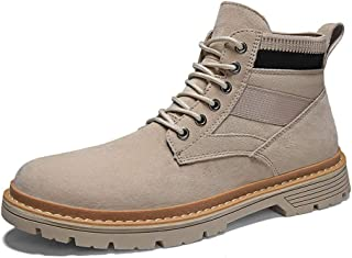 Sunny&Baby Casual Ankle Boots for Men Work Boots Lace up Canvas & Genuine Leather Patchwork Rubber Sole Round Toe Stitching Anti-Skid Durable (Color : Sand, Size : 6.5 UK)