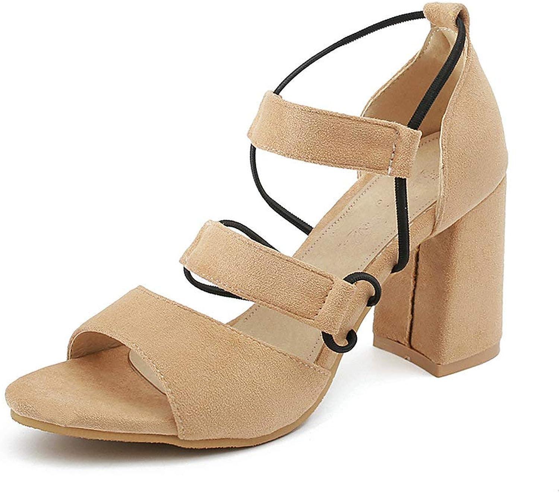 AnMengXinLing Block Heel Sandals Women Ankle Strap Open Toe High Heel Suede Pumps Fashion Elastic Slip On Formal Dress Work Daily shoes