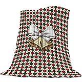 Celosía de Navidad con una Campana Patrón Manta de Franela Plaid Suave Acogedora Mullida Cálida Mantas de Lujo la 100% Microfibra para Modernas Colcha Sofa Manta-180x240cm