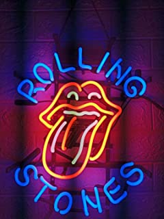 LDGJ Neon Signs for Wall Decor Handmade Sign Home Rolling Stone Beer Bar Pub Recreation Room Lights Windows Glass Party