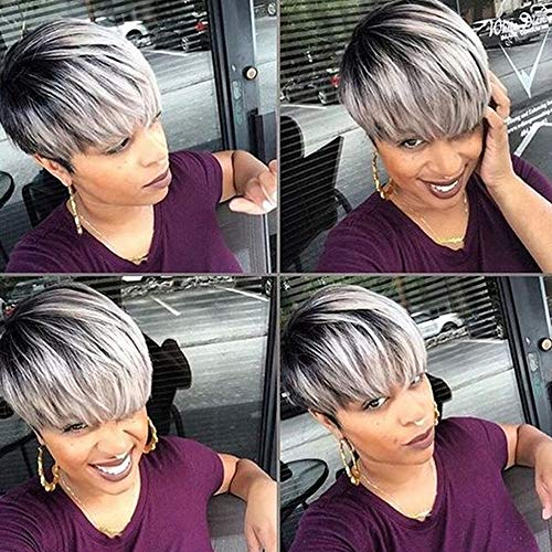 Divine Hair Short Ombre Gray Wig Short Synthetic Wigs For Black White Women Short Black gray Wig Styles For Black Girls Short omber gray with dark roots short gray cut hair styles